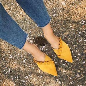 Zara Trafaluc Mustard Ruffle Pointed Mules 39